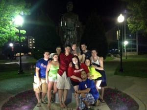 A great group of Canisius friends who on our last night together explored our campus, laughed, sang, danced, ran through some sprinklers and just had good, old-fashioned fun.