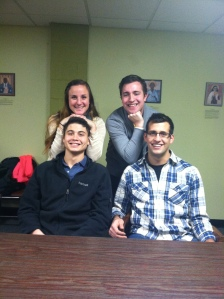 members of my small group Katie and myself, Will and Rich (missing Ally and Emily)