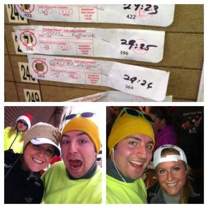 Katie and I before and after the race, without our 5K times. Under 30 minutes baby!