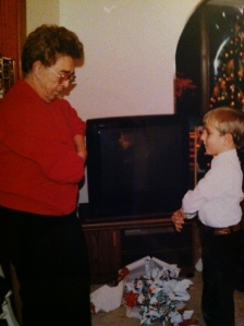 Mimi and me doing the macarena on Christmas Eve, many years ago.
