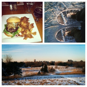 Burger and beer at Blue Monk, Snowshoeing at Tifft Nature Preserve with my friend Brian
