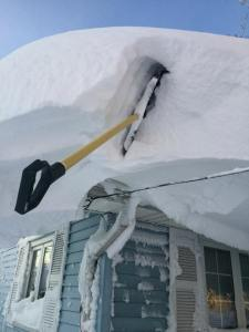 The snow was so thick, my shovel got stuck.