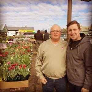 My dad and I at the Clinton Bailey Farmer's Market buying Easter flowers.