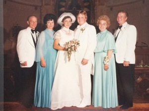 My mom's parents, Albin and Theresa (left) and my dad's parents Vicky and John (right) on their wedding day.